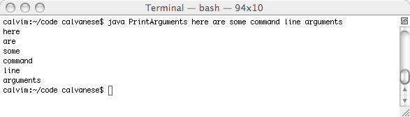 Parameters passed to a program